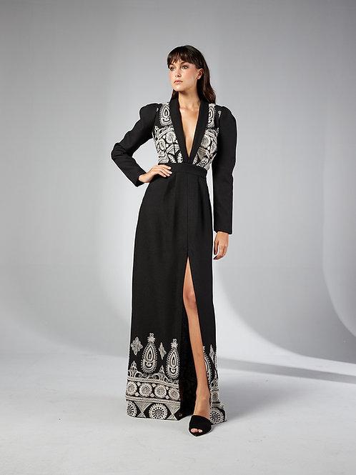 Vestido longo barra bordada preto Skazi