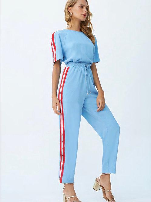 Conjunto de calça e blusa azul claro detalhes em listras tricot Skazi Sclub