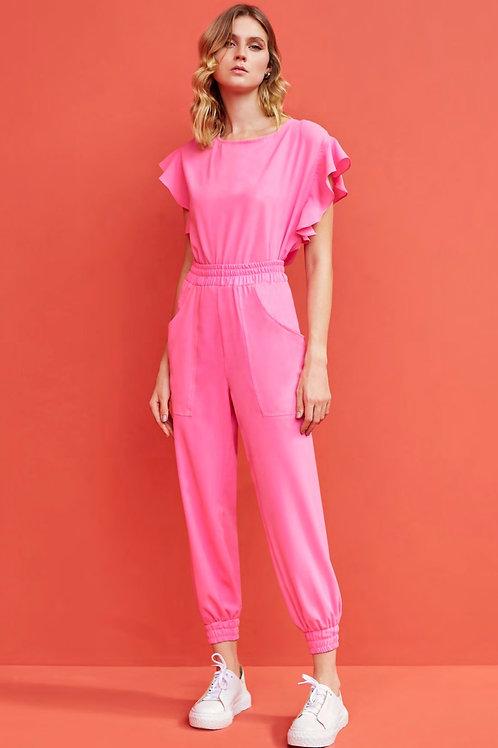 Conjunto rosa claro calça jogger e blusa Skazi Sclub