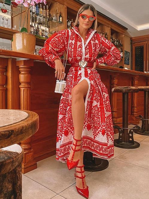 Vestido longo bordado de linha vermelho Skazi Sclub Thassia Naves