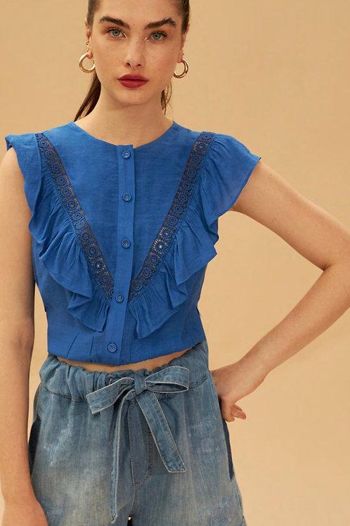 Camisa regata babados detalhe em renda azul Skazi sclub
