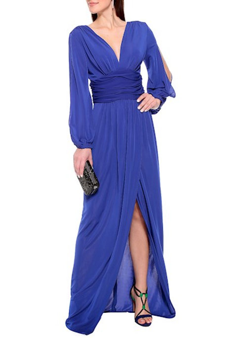 Vestido longo fenda Arom Amíssima azul