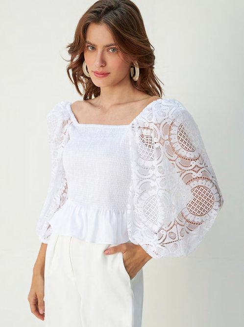 Conjunto de calça e blusa lastex e renda off white Skazi Sclub