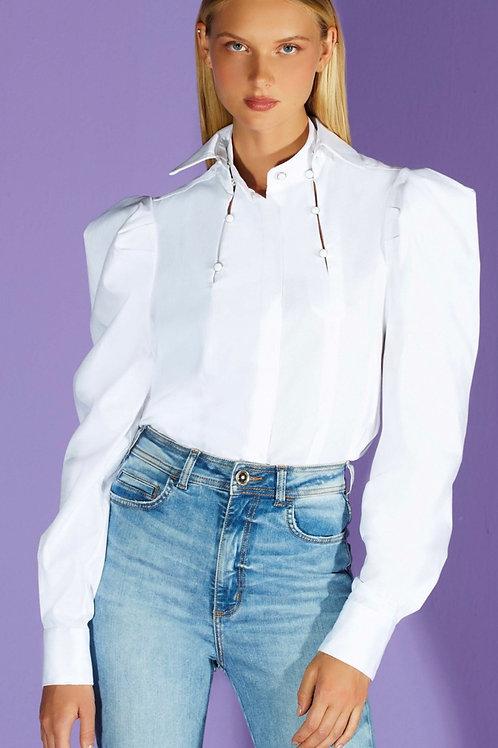 Camisa recortes mangas bufantes off white - TD Tufi Duek
