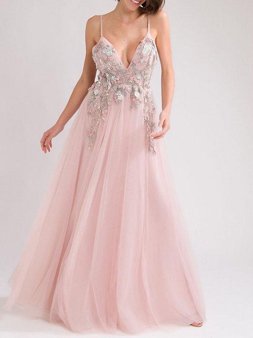 Vestido longo rosa claro Patricia Bonaldi bordado