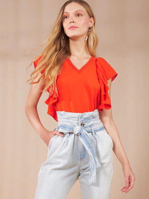Blusa detalhe babados laranja Skazi Sclub