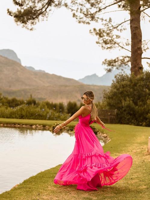 Vestido longo crepe pink Skazi Thassia Naves