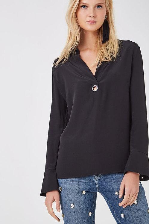 Camisa de seda Polo Ilhós - Animale preto