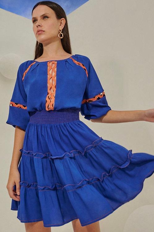 Vestido curto detalhes renda zig azul e laranja Skazi Sclub