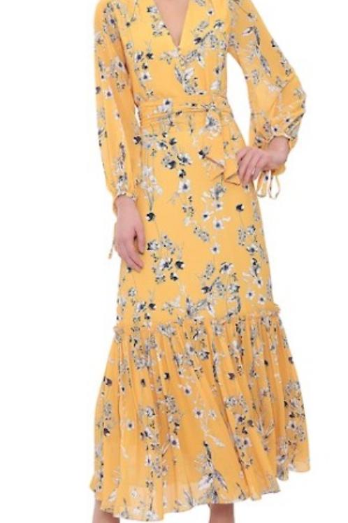 Vestido longo crepe floral Lia amarelo - Amíssima