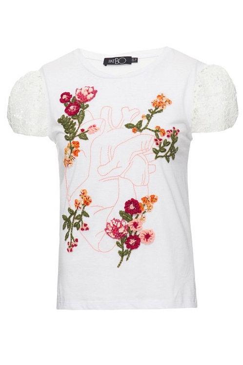 T shirt bordada manga renda PatBo off white