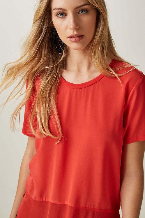 Blusa T-Shirt Mix Tecido Animale - Vermelho
