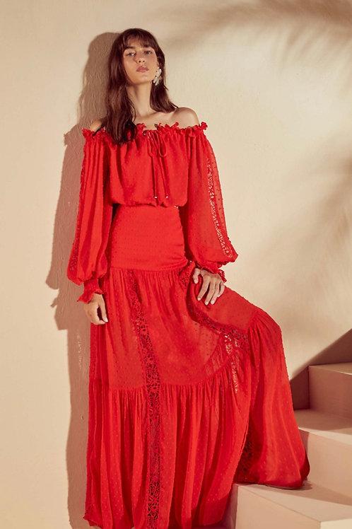 Conjunto blusa e saia tecido bordado vermelho Skazi