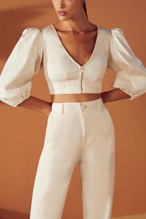 Conjunto de calça e cropped mang bufante off white Skazi Sclub
