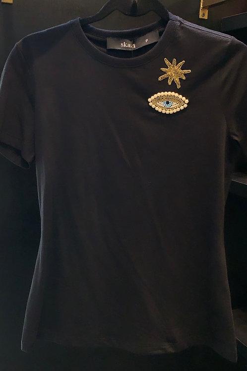 T shirt de estrela e olho grego bordado preto Skazi