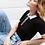 Thumbnail: Blusa polo meia manga tricot preta e branca Skazi Sclub