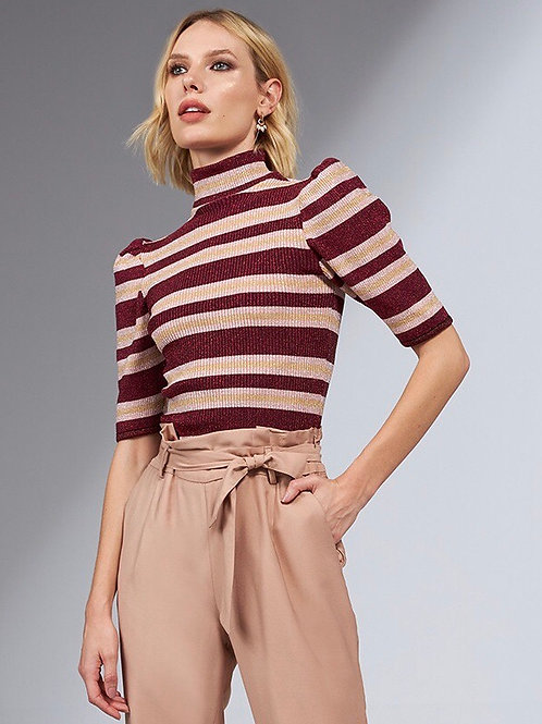 Blusa tricot lurex listras vinho, rosa e dourado Skazi Sclub