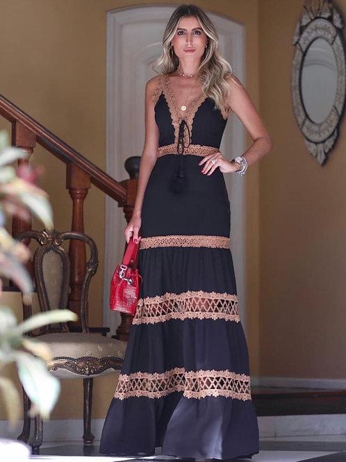 Vestido longo detalhe renda Anne Fernandes preto