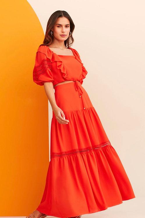 Conjunto de blusa e saia laranja Skazi Sclub