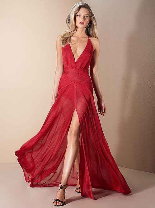 Vestido longo tricot detalhe fenda vermelho Skazi