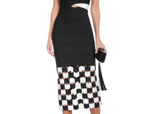 Vestido Lolitta Midi preto e off white