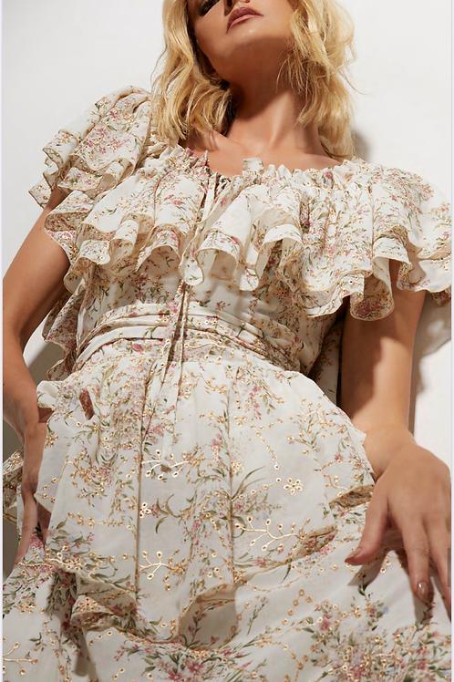 Vestido longo ombro a ombro em tecido bordado Skazi Sclub