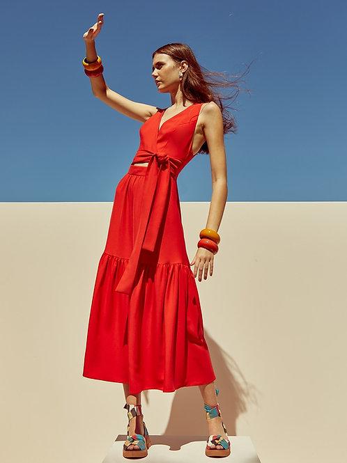 Vestido midi amarração vermelho Skazi Sclub