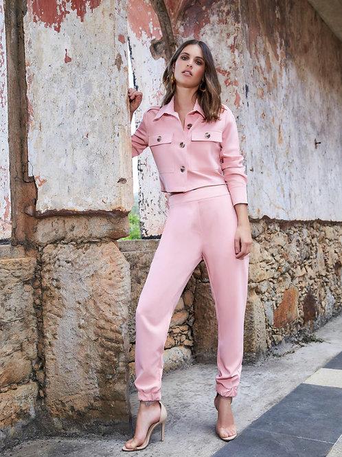 Calça bomber rosa milenial Anne Fernandes