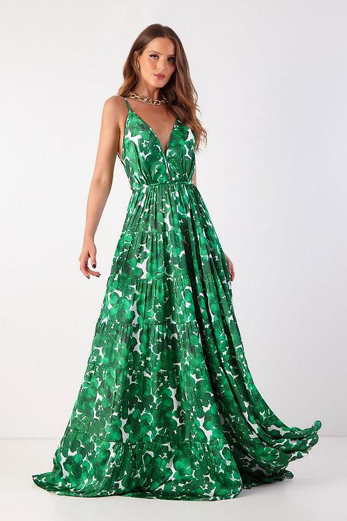 Vestido longo Ju estampa folha verde Agilità