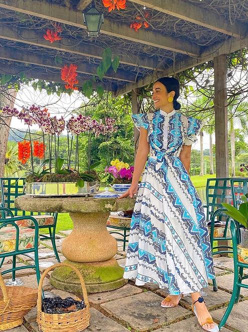 Vestido bordado em linha azul Skazi Sclub Silvia Braz