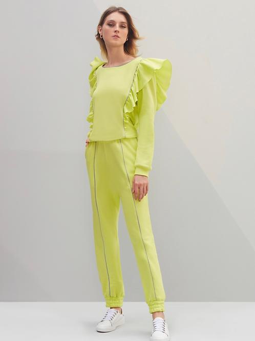 Conjunto blusa e calça detalhe babados verde neon Sclub Skazi