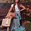 Thumbnail: Saia longa babados estampa Carolina Lily azul Patbo