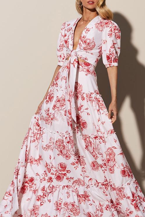 Conjunto de saia longa e blusa estampa floral rosas vermelhas Skazi Sclub
