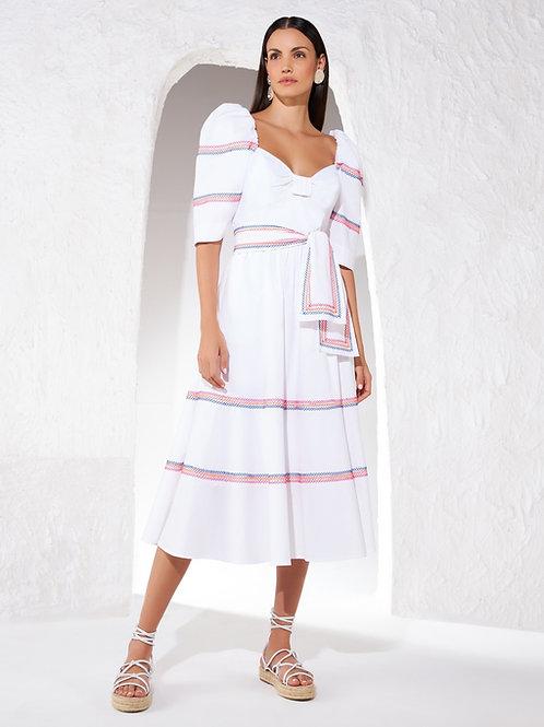 Vestido midi tecido bordado linha off white Skazi