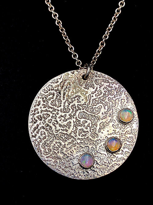 Brain Coral Pendant with Opals