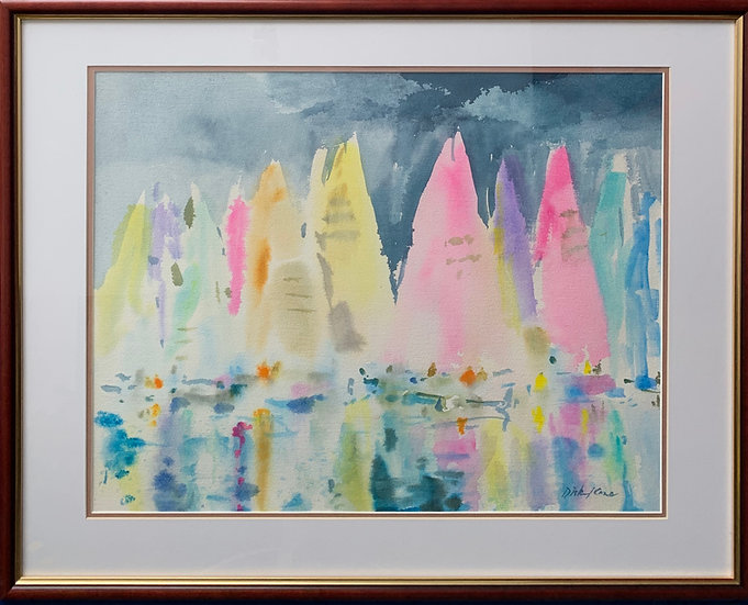 "Rainbow Regatta- 29"" x 23"""