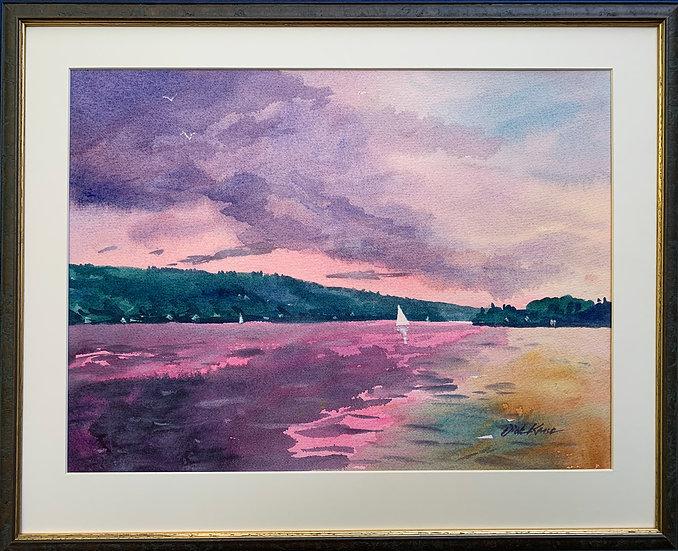 """Finger Lake Sunset- 21"""" x 17"""""""