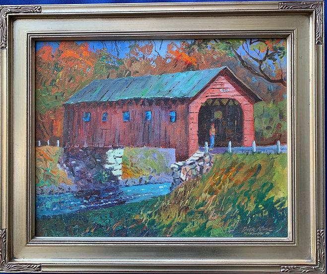 """Vermont Covered Bridge 17"""" x 14"""""""