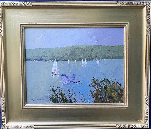 "Finger Lakes Heron- 20"" x 18"""