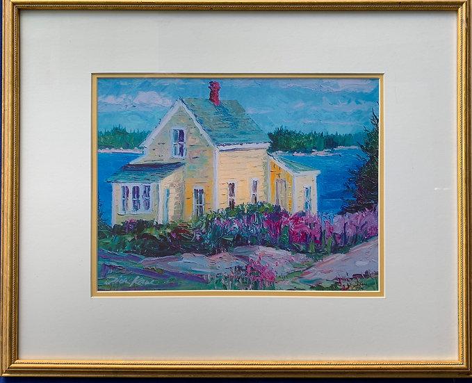 "Yellow house,Maine- 17"" x 21"""