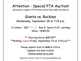 Giants Tickets Auction ends tomorrow!
