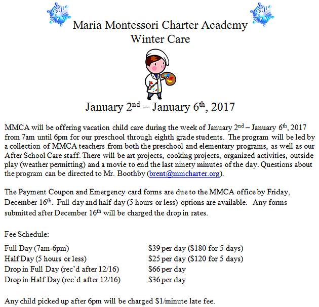 Winter Care 2017 | Maria Montessori Charter Academy (MMCA