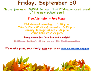 Family Dance & Pizza Night on 9/30