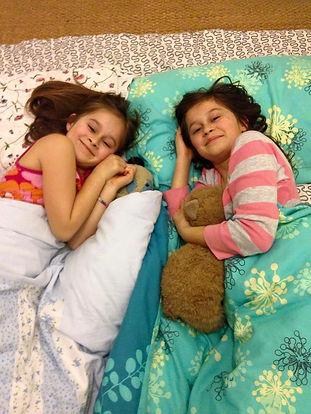 Family travel: girls going to sleep