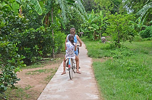 Family travel: riding a bike on Kaoh Trong, northern Cambodia