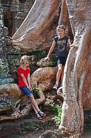 Family travel: children at Angkor Wat Cambodia