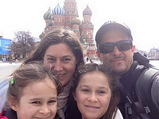Family travel: selfie in Red Square, Moscow