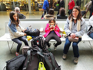 Family travel. A family waits in the Eurostar terminal in London