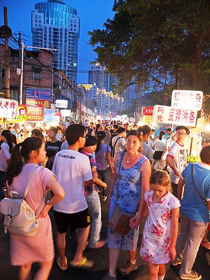 Family travel: at the night market in Nanning, China