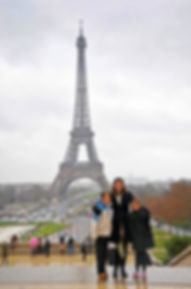 Family travel: at the Eiffel Tower
